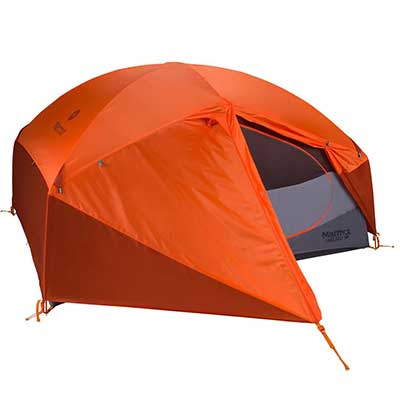 3p Tent with orange rainfly