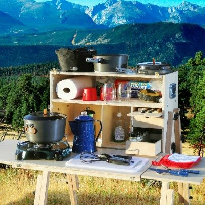 camp kitchen in mountains