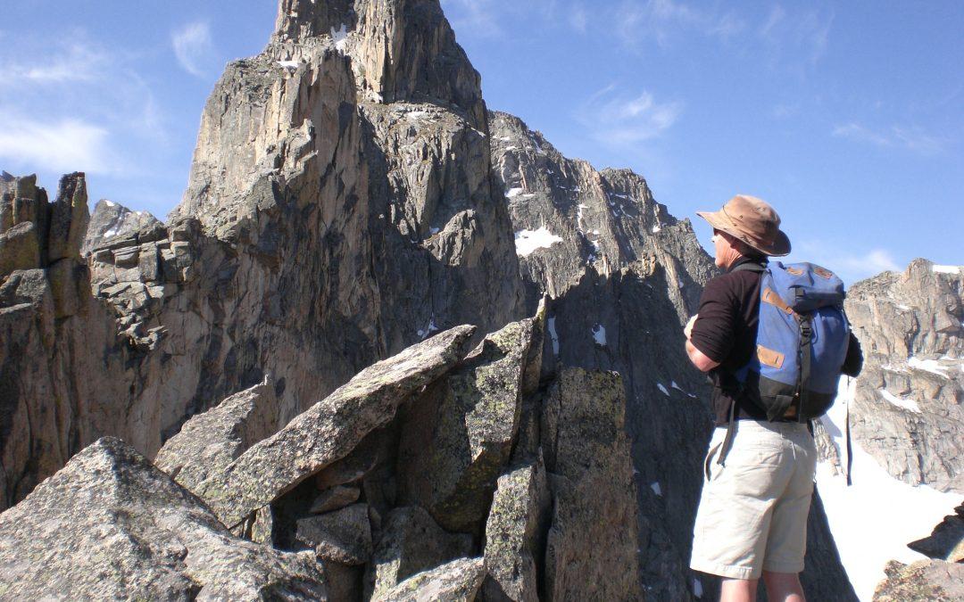 hiker on Iroquois Peak