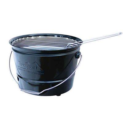 Black bbq bucket front view